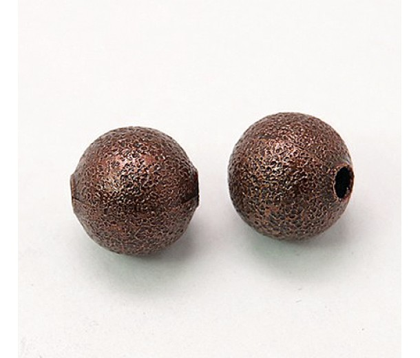 10mm Round Stardust Beads, Antique Copper, Pack of 25