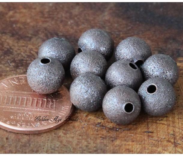 8mm Round Stardust Beads, Antique Copper