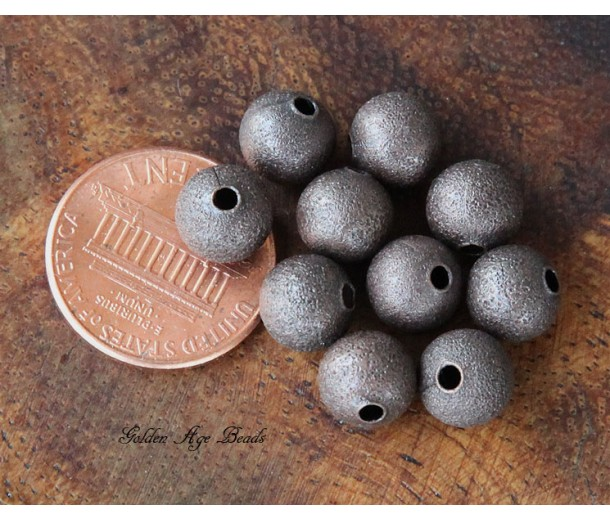 6mm Round Stardust Beads, Antique Copper, Pack of 50