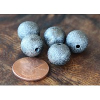 12mm Round Stardust Beads, Gunmetal, Pack of 10