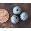 12mm Round Stardust Beads, Gunmetal, Pack of 10