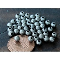 4mm Round Stardust Beads, Gunmetal