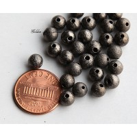 6mm Round Stardust Beads, Gunmetal