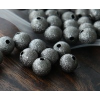 8mm Round Stardust Beads, Gunmetal