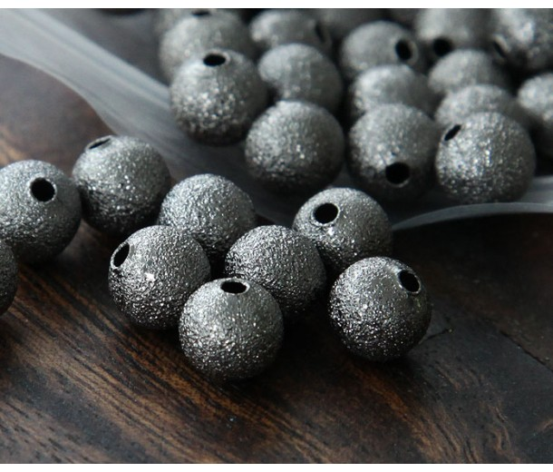 8mm Round Stardust Beads, Gunmetal