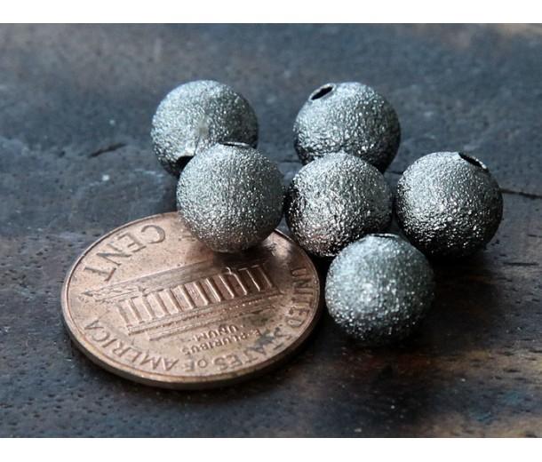8mm Round Stardust Beads, Gunmetal, Pack of 50