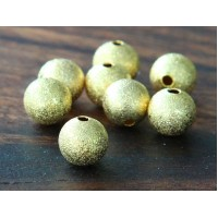 12mm Round Stardust Beads, Gold Tone