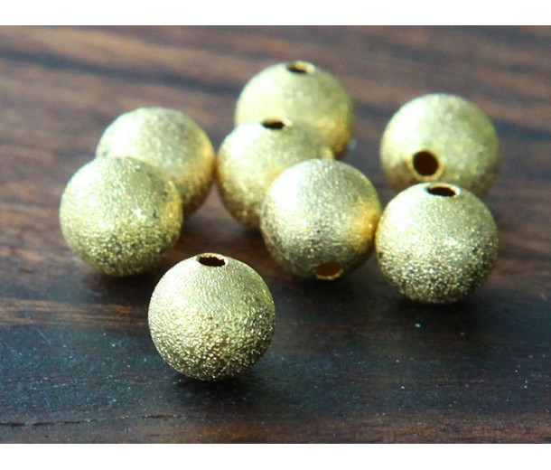 12mm Round Stardust Beads, Gold Tone, Pack of 10