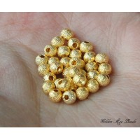 4mm Round Stardust Beads, Gold Tone, Pack of 100