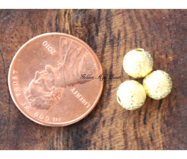 6mm Round Stardust Beads, Gold Tone, Pack of 50