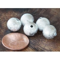 10mm Round Stardust Beads, Silver Tone