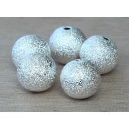 12mm Round Stardust Beads, Silver Tone