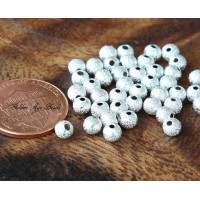4mm Round Stardust Beads, Silver Tone, Pack of 100