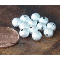 6mm Round Stardust Beads, Silver Tone, Pack of 50
