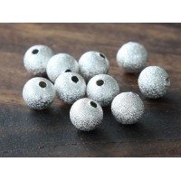 8mm Round Stardust Beads, Silver Tone