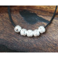 6mm Large Hole Stardust Beads, Silver Tone