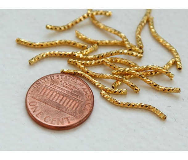20mm Twisted Tube Beads, Gold Tone