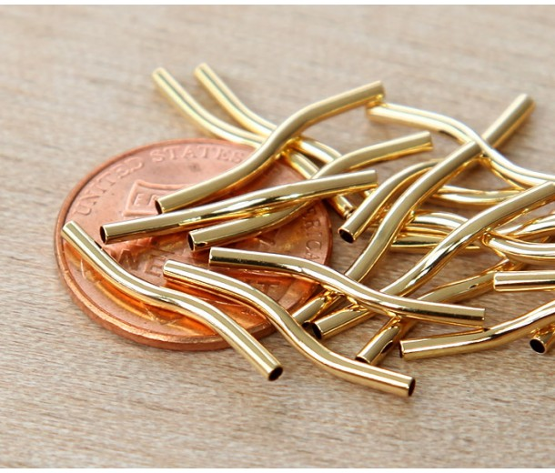 19mm Twisted Tube Beads, Gold Plated