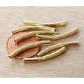 25mm Curved Tube Beads, 1.5mm Hole, Gold Plated, Pack of 10