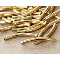 25mm Curved Tube Beads, 1.5mm Hole, Gold Plated