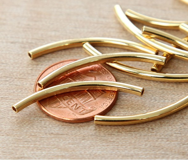 30mm Curved Tube Beads, Gold Plated