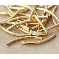 30mm Curved Tube Beads, 1.2mm Hole, Gold Plated