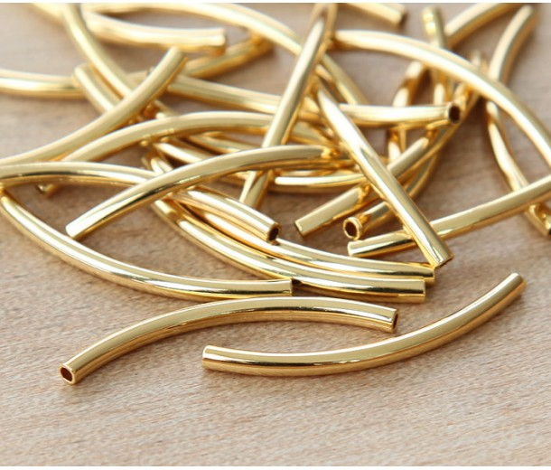 30mm Curved Tube Beads, 1.2mm Hole, Gold Plated, Pack of 10