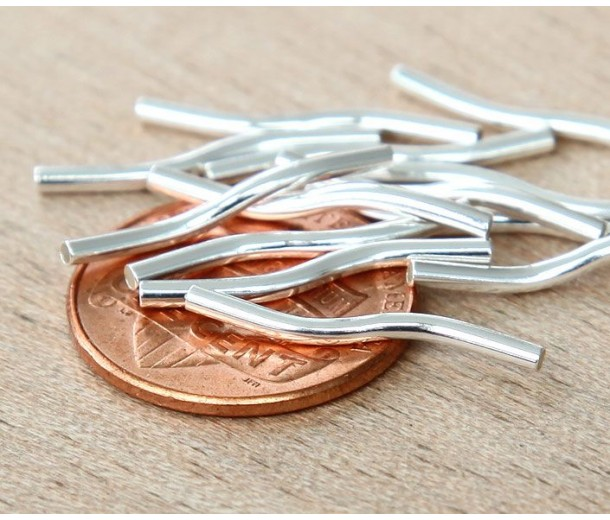 19mm Twisted Tube Beads, 1mm Hole, Silver Plated