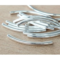 30mm Curved Tube Beads, Silver Plated