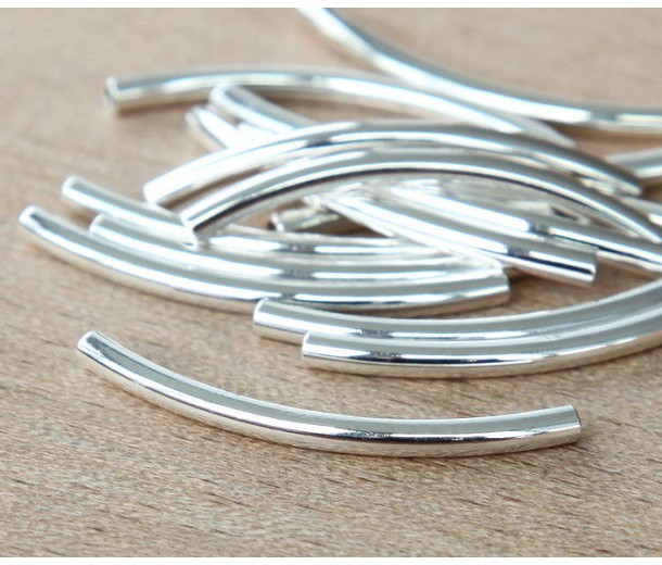 30mm Curved Tube Beads, 1.5mm Hole, Silver Plated, Pack of 10