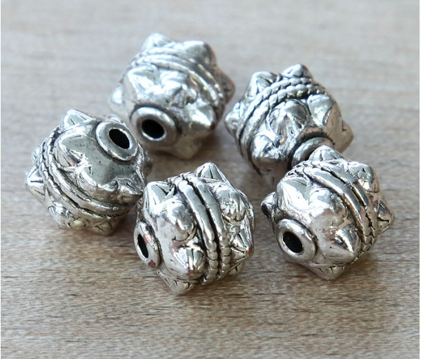 10mm Studded Round Beads, Antique Silver