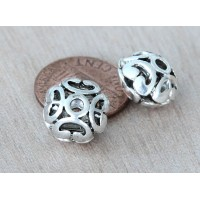 11mm Puff Rondelle Beads, Antique Silver