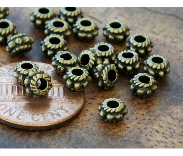 5mm Rondelle Spacer Beads, Antique Brass, Pack of 100