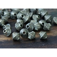 7mm Bicone Beads, Antique Brass