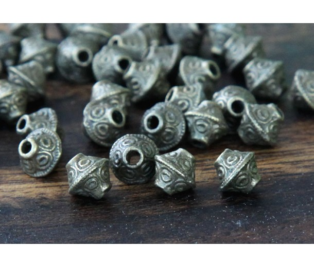7mm Bicone Beads, Antique Brass, Pack of 40