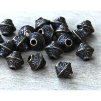 7mm Bicone Beads, Antique Copper