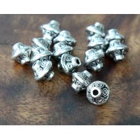 7mm Bicone Beads, Antique Silver