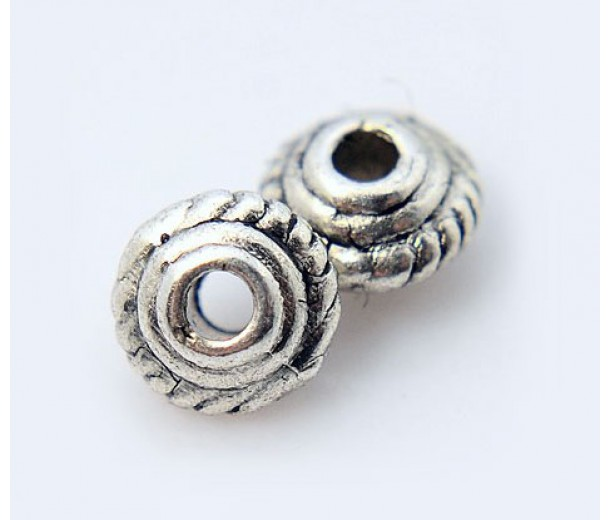 5mm Saucer Beads, Antique Silver, Pack of 100