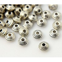 5mm Saucer Beads, Antique Silver