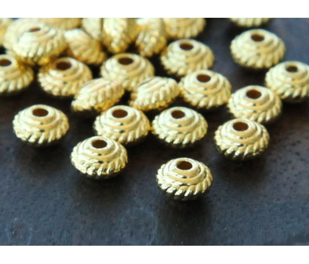 5mm Saucer Beads, Gold Tone, Pack of 100