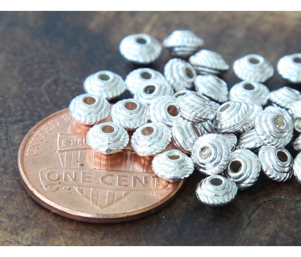 5mm Saucer Beads, Silver Tone, Pack of 100