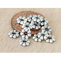 6mm Daisy Spacer Beads, Antique Silver, Pack of 50