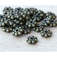 6mm Daisy Spacer Beads, Antique Brass