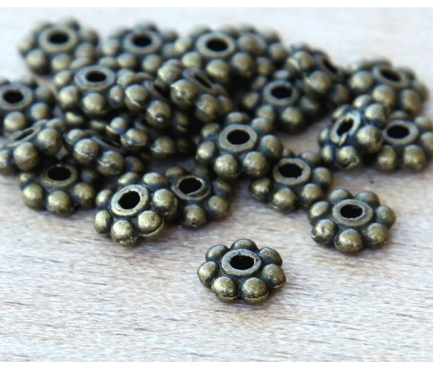 6mm Daisy Spacer Beads, Antique Brass, Pack of 50