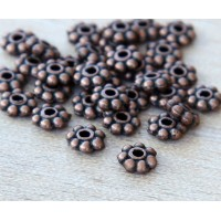 6mm Daisy Spacer Beads, Antique Copper