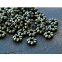 4mm Daisy Spacer Beads, Antique Brass, Pack of 100