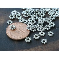 4mm Daisy Spacer Beads, Antique Silver
