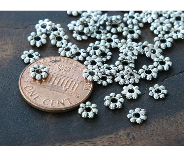 4mm Daisy Spacer Beads, Antique Silver, Pack of 100