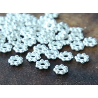4mm Daisy Spacer Beads, Silver Tone