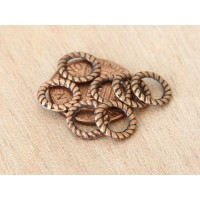 9mm Rope Ring Beads, Antique Copper, Pack of 20